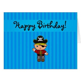 Rayas azules personalizadas del pirata conocido felicitacion