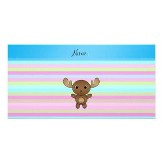 Rayas azules personalizadas del rosa conocido de tarjetas fotograficas personalizadas