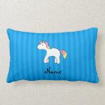 Rayas azules personalizadas del unicornio conocido cojines