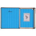 Rayas azules personalizadas del unicornio conocido iPad cárcasas