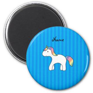 Rayas azules personalizadas del unicornio conocido iman para frigorífico