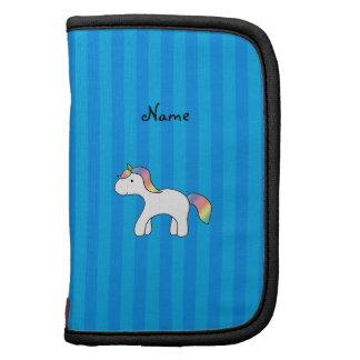 Rayas azules personalizadas del unicornio conocido organizador