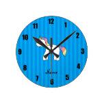 Rayas azules personalizadas del unicornio conocido relojes