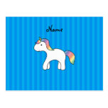 Rayas azules personalizadas del unicornio conocido postales