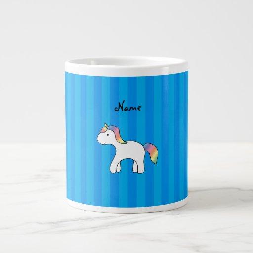 Rayas azules personalizadas del unicornio conocido taza extra grande