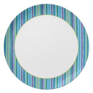 Rayas azules plato de cena