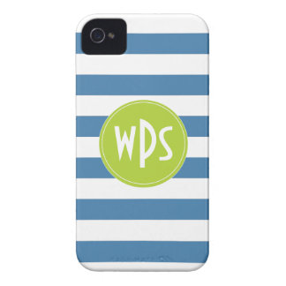 Rayas azules verde lima monograma iPhone 4 4s Case-Mate iPhone 4 Cárcasa