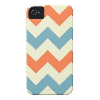 Rayas azules y anaranjadas en colores pastel de Ch iPhone 4 Fundas