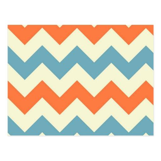 Rayas azules y anaranjadas en colores pastel de tarjetas postales