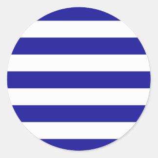 Rayas azules y blancas básicas pegatina redonda