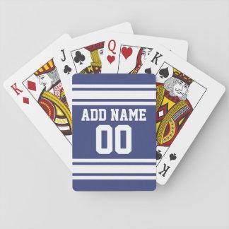 Rayas azules y blancas con nombre y número barajas de cartas