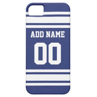 Rayas azules y blancas con nombre y número iPhone 5 Case-Mate cobertura