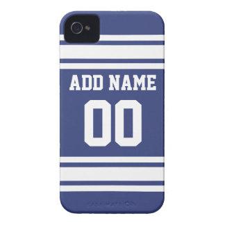 Rayas azules y blancas con nombre y número iPhone 4 Case-Mate cobertura