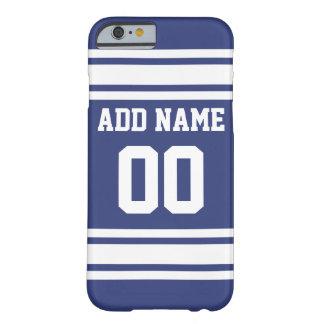 Rayas azules y blancas con nombre y número funda de iPhone 6 barely there