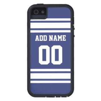 Rayas azules y blancas con nombre y número iPhone 5 carcasas