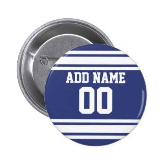 Rayas azules y blancas con nombre y número pin redondo de 2 pulgadas