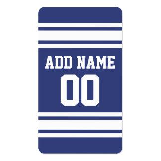 Rayas azules y blancas con nombre y número tarjeta de visita