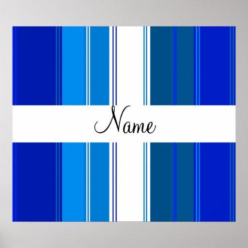 Rayas azules y blancas conocidas personalizadas impresiones