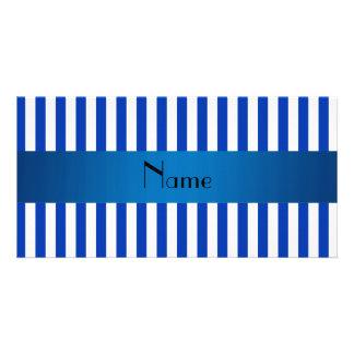 Rayas azules y blancas conocidas personalizadas tarjetas personales