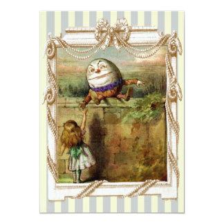 """Rayas azules y blancas de Humpty Dumpty y de Invitación 5"""" X 7"""""""