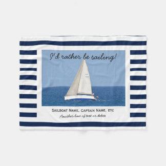 Rayas azules y blancas de la navegación de la foto manta de forro polar
