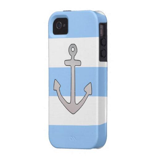 rayas azules y blancas del ancla del iPhone 4 iPhone 4/4S Carcasa