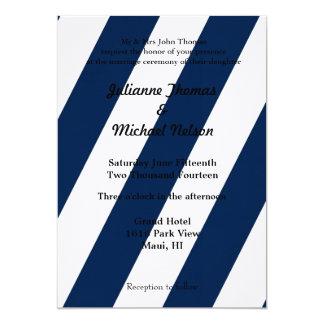 Rayas azules y blancas invitación 12,7 x 17,8 cm