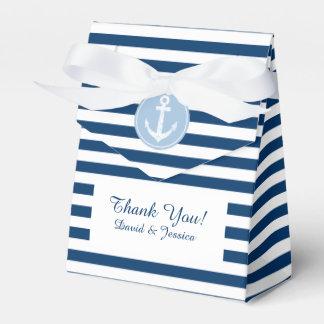 Rayas azules y blancas náuticas que casan la caja cajas para regalos