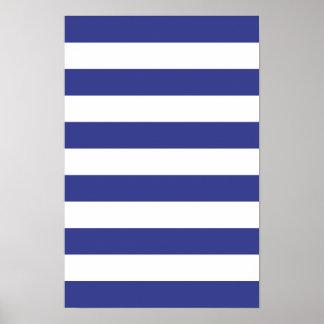 Rayas azules y blancas póster