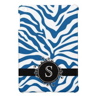 Rayas azules y blancas salvajes de la cebra iPad mini protector
