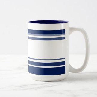 Rayas azules y blancas taza de dos tonos