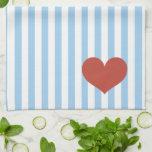 Rayas azules y corazón toalla