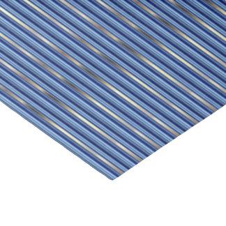 Rayas azules y de plata papel de seda pequeño
