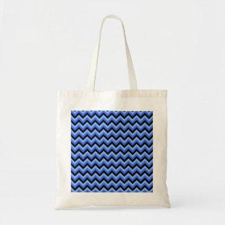 Rayas azules y negras del zigzag bolsa tela barata