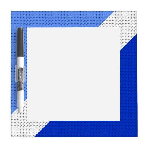 Rayas azules y puntos tablero blanco