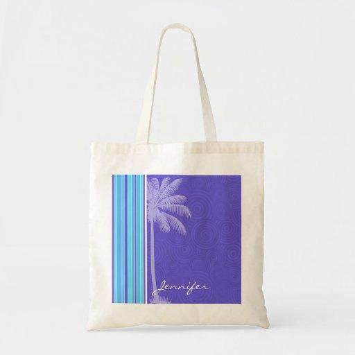 Rayas azules y púrpuras tropicales; Rayado Bolsas