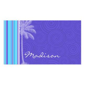 Rayas azules y púrpuras tropicales; Rayado Tarjetas De Visita