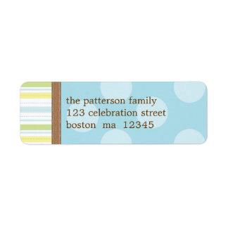 Rayas azules y verdes felices + Puntos Etiqueta De Remitente