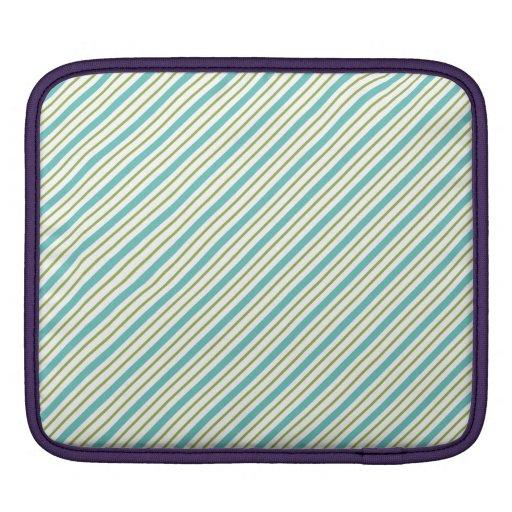 Rayas azules y verdes funda para iPads