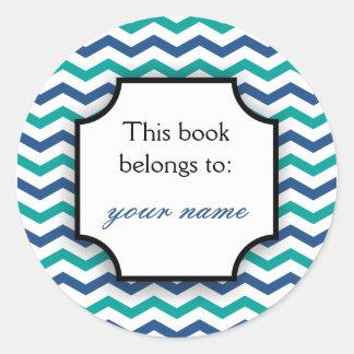 Rayas azulverdes de encargo de los Bookplates el | Pegatina Redonda