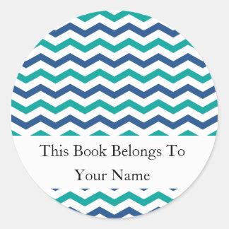 Rayas azulverdes de encargo de los Bookplates el | Etiquetas Redondas