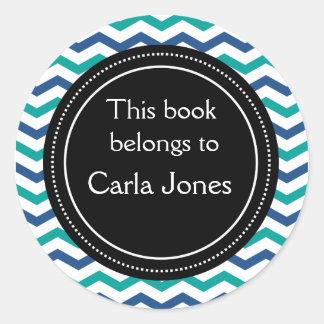 Rayas azulverdes de encargo de los Bookplates el | Etiqueta Redonda