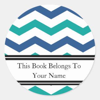 Rayas azulverdes de encargo de los Bookplates el | Pegatinas Redondas
