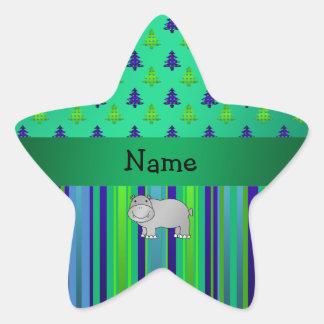Rayas azulverdes personalizadas del hipopótamo con pegatina forma de estrella personalizadas