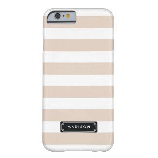 Rayas beige de lino con clase personalizadas funda barely there iPhone 6