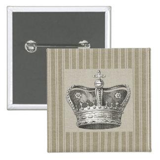Rayas beige decorativas de la corona real del pin cuadrado