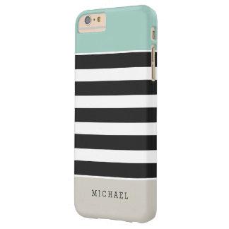 Rayas beige negras blancas de la menta - elegante funda de iPhone 6 plus barely there