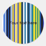 Rayas blancas amarillas azules marinas pegatina redonda