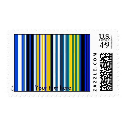 Rayas blancas amarillas azules marinas sello