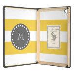 Rayas blancas amarillas modelo, monograma del carb